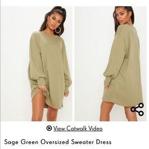 PrettyLittleThing sage oversized sweater dress